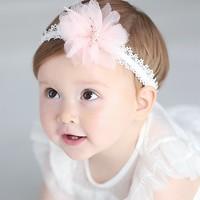 thumb-Haar Sieraad / Haarband - Wit met Roze Bloem-1