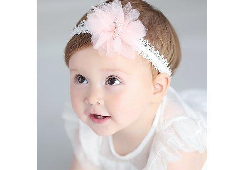 Haar Sieraad / Haarband - Wit met Roze Bloem
