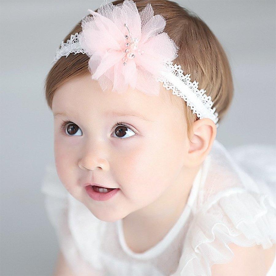 Haar Sieraad / Haarband - Wit met Roze Bloem-1