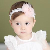 thumb-Haar Sieraad / Haarband - Wit met Roze Bloem-3