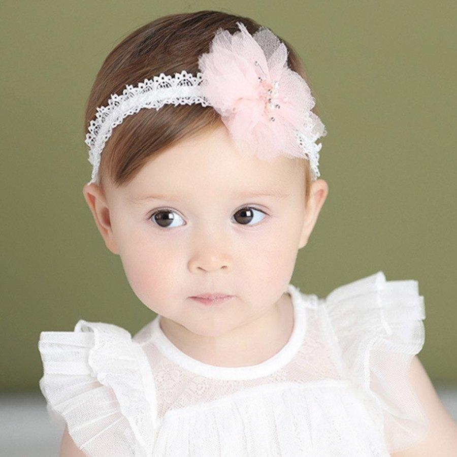 Haar Sieraad / Haarband - Wit met Roze Bloem-3