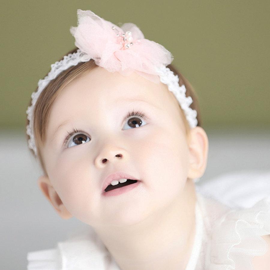 Haar Sieraad / Haarband - Wit met Roze Bloem-4
