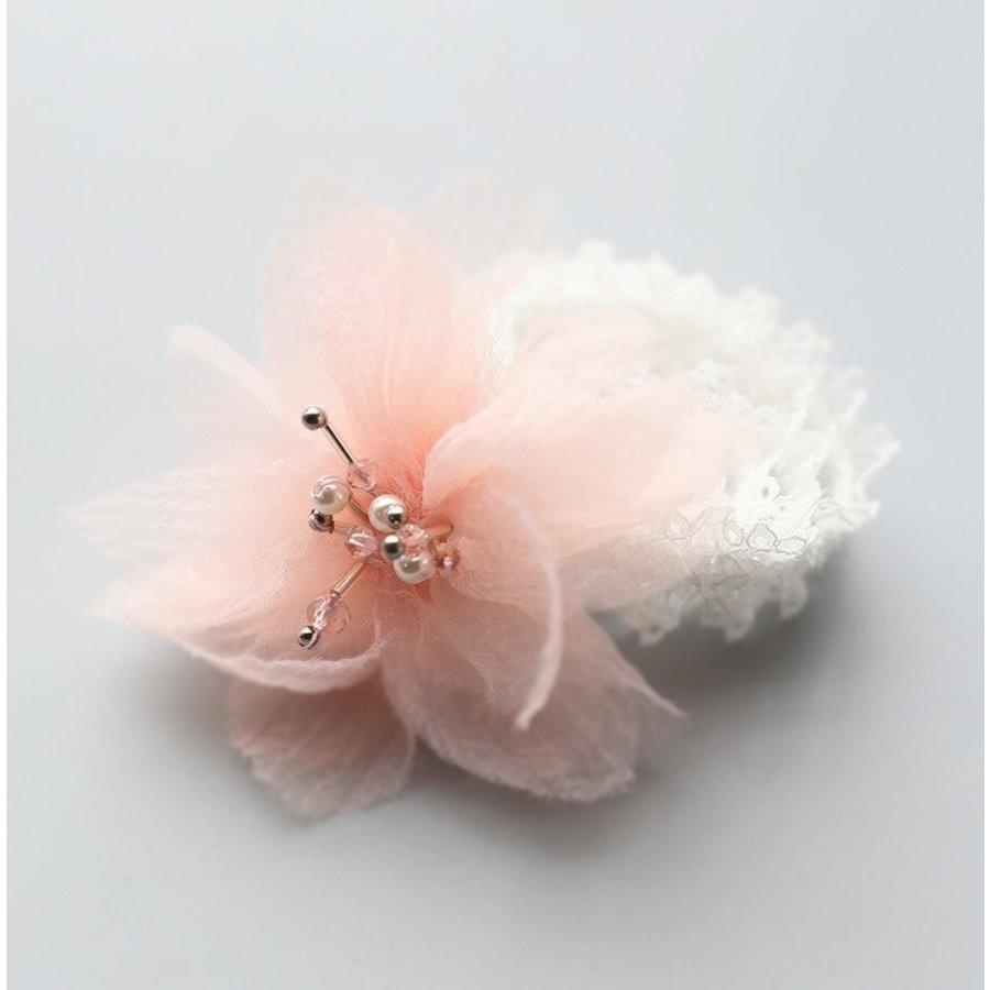 Haar Sieraad / Haarband - Wit met Roze Bloem-2