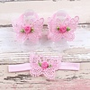 PaCaZa Baby sandaaltje - Roze - Vlinder met Roosje & Haarband