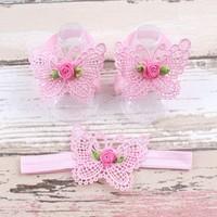 thumb-Baby sandaaltje - Roze - Vlinder met Roosje & Haarband-1