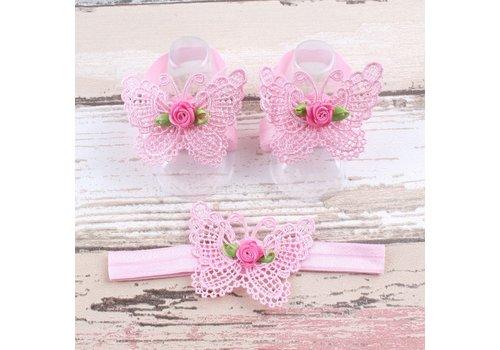 Baby sandaaltje - Roze - Vlinder met Roosje & Haarband