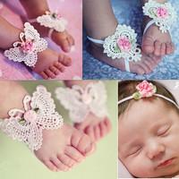 thumb-Baby sandaaltje -  Wit - Vlinder met Roosje & Haarband-2