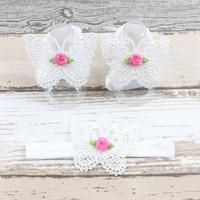 thumb-Baby sandaaltje -  Wit - Vlinder met Roosje & Haarband-1