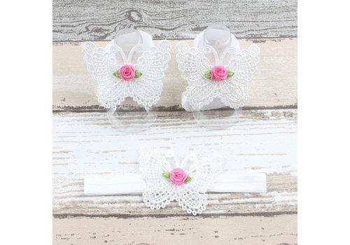 Baby sandaaltje -  Wit - Vlinder met Roosje & Haarband