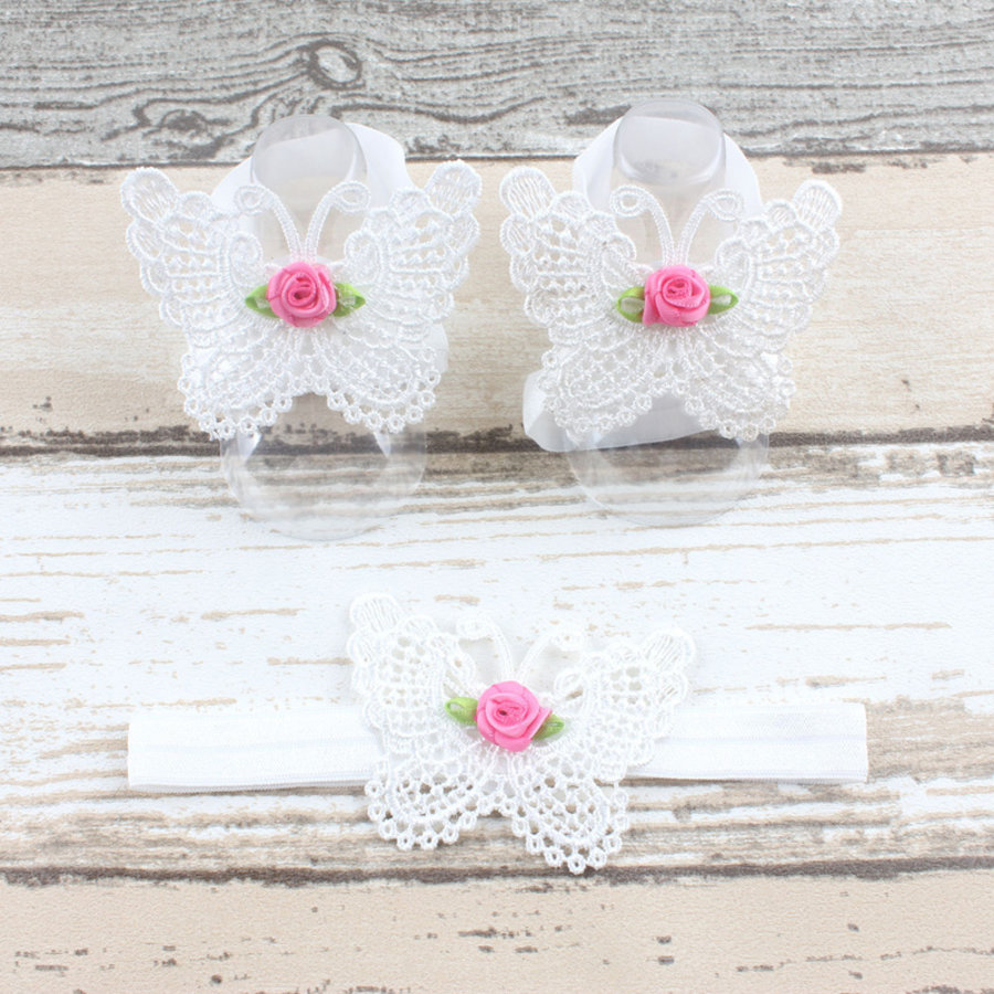 Baby sandaaltje -  Wit - Vlinder met Roosje & Haarband-1