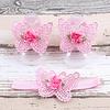 Baby sandaaltje -  Roze - Vlinder met Bloemetje & Haarband