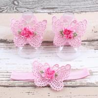 thumb-Baby sandaaltje -  Roze - Vlinder met Bloemetje & Haarband-1