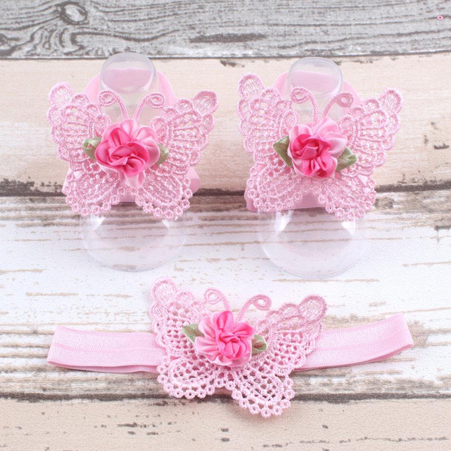 Baby sandaaltje -  Roze - Vlinder met Bloemetje & Haarband-1