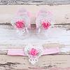 PaCaZa Baby sandaaltje -  Wit - Hart met Bloemetje & Wit met Roze Haarband