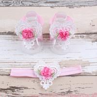 thumb-Baby sandaaltje -  Wit - Hart met Bloemetje & Wit met Roze Haarband-1