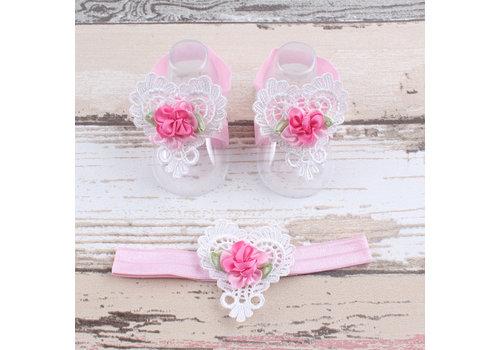 Baby sandaaltje -  Wit - Hart met Bloemetje & Wit met Roze Haarband