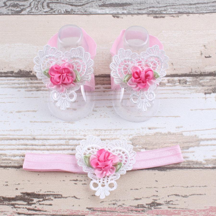 Baby sandaaltje -  Wit - Hart met Bloemetje & Wit met Roze Haarband-1