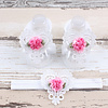 PaCaZa Baby sandaaltje -  Wit - Hart met Bloemetje & Witte Haarband