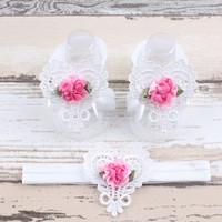 thumb-Baby sandaaltje -  Wit - Hart met Bloemetje & Witte Haarband-1