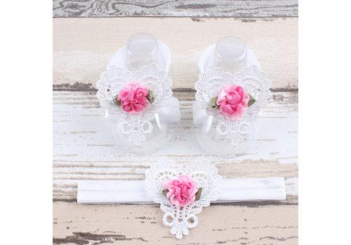 Baby sandaaltje -  Wit - Hart met Bloemetje & Witte Haarband