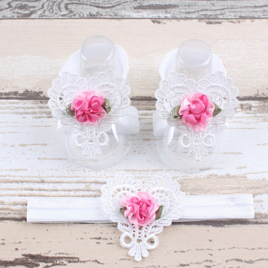 Baby sandaaltje -  Wit - Hart met Bloemetje & Witte Haarband-1