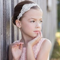 thumb-Haar Sieraad / Haarband met Fonkelende Kristallen en Ivoorkleurige Parels-1