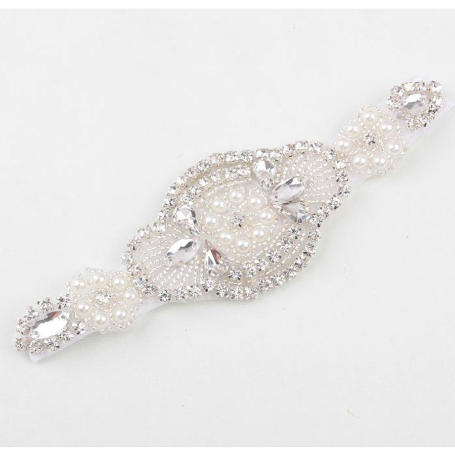 Haar Sieraad / Haarband met Fonkelende Kristallen en Ivoorkleurige Parels-2