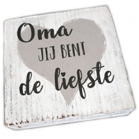 "BonTon - Houten Tekstplank / Tekstbord 15 cm ""Oma, jij bent de liefste"" - Kleur Antique White"