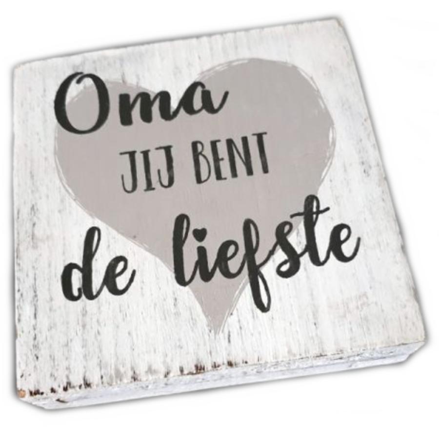 "BonTon - Houten Tekstplank / Tekstbord 15 cm ""Oma, jij bent de liefste"" - Kleur Antique White-1"