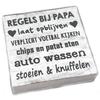 "BonTon BonTon - Houten Tekstplank / Tekstbord 15 cm ""Regels bij Papa...."" - Kleur Antique White"
