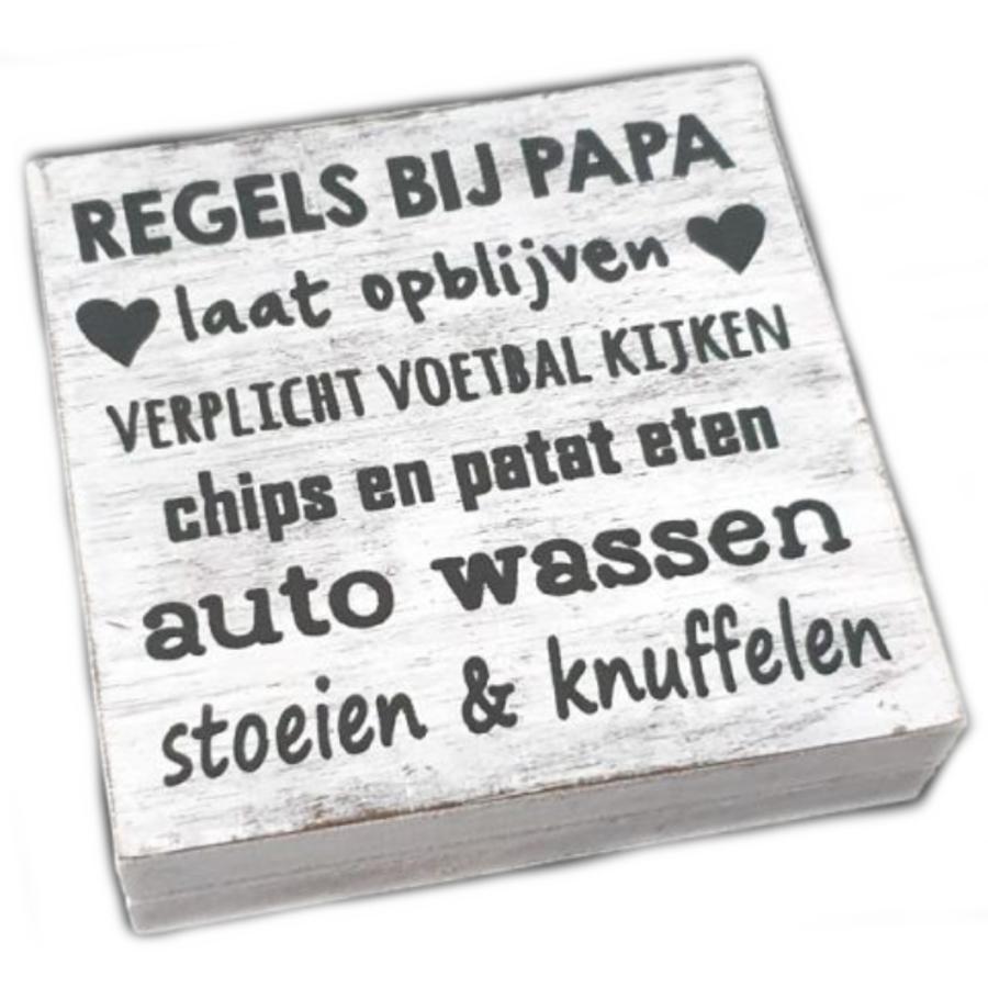 "BonTon - Houten Tekstplank / Tekstbord 15 cm ""Regels bij Papa...."" - Kleur Antique White-1"