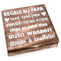 """Houten Tekstplank / Tekstbord 15cm """"Regels bij Papa...."""" - Kleur Naturel"""