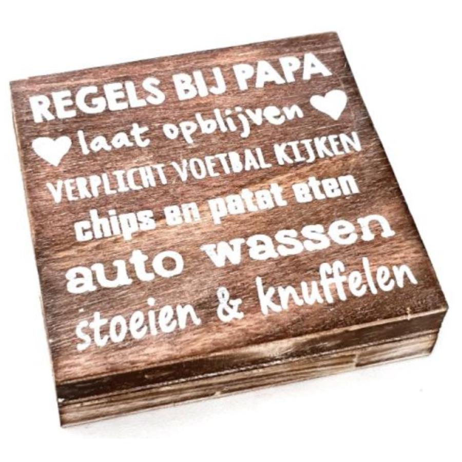"""Houten Tekstplank / Tekstbord 15cm """"Regels bij Papa...."""" - Kleur Naturel-1"""