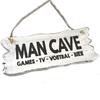"BonTon Houten Tekstplank / Tekstbord 12x30cm ""Man Cave....."" - Kleur Antique White"