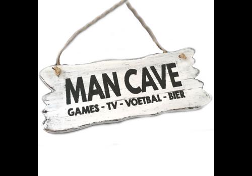 """Houten Tekstplank / Tekstbord 12x30cm """"Man Cave....."""" - Kleur Antique White"""