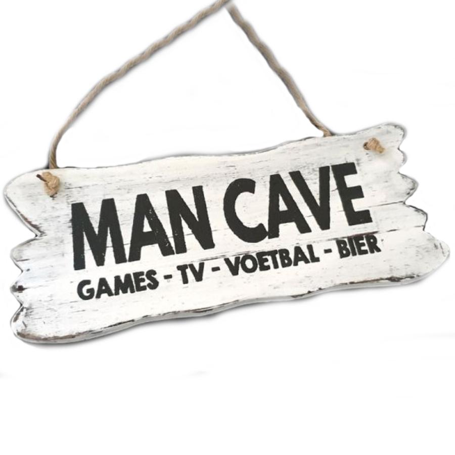 """Houten Tekstplank / Tekstbord 12x30cm """"Man Cave....."""" - Kleur Antique White-1"""