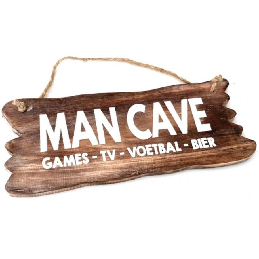"Houten Tekstplank / Tekstbord 12x30cm ""Man Cave....."" - Kleur Naturel-1"