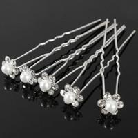 thumb-Hairpins – Bloem met Parel en Kristallen - 4 stuks-1
