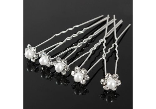 Hairpins – Bloem met Parel en Kristallen - 4 stuks