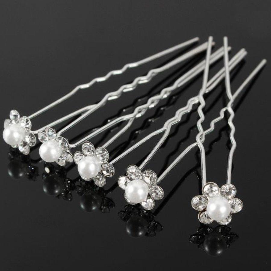 Hairpins – Bloem met Parel en Kristallen - 4 stuks-1