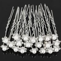 thumb-Hairpins – Bloem met Parel en Kristallen - 4 stuks-2