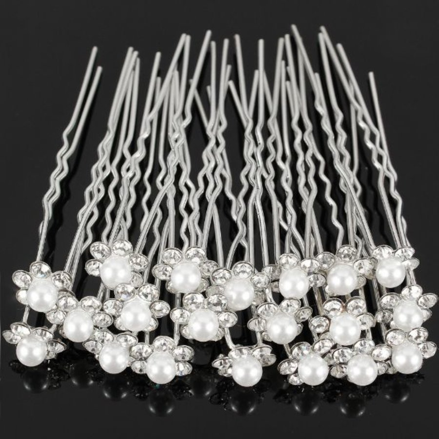Hairpins – Bloem met Parel en Kristallen - 4 stuks-2