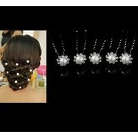 thumb-Hairpins – Parel met Fonkelende Kristallen - 4 stuks-3