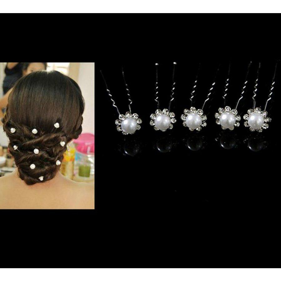 Hairpins – Parel met Fonkelende Kristallen - 4 stuks-3
