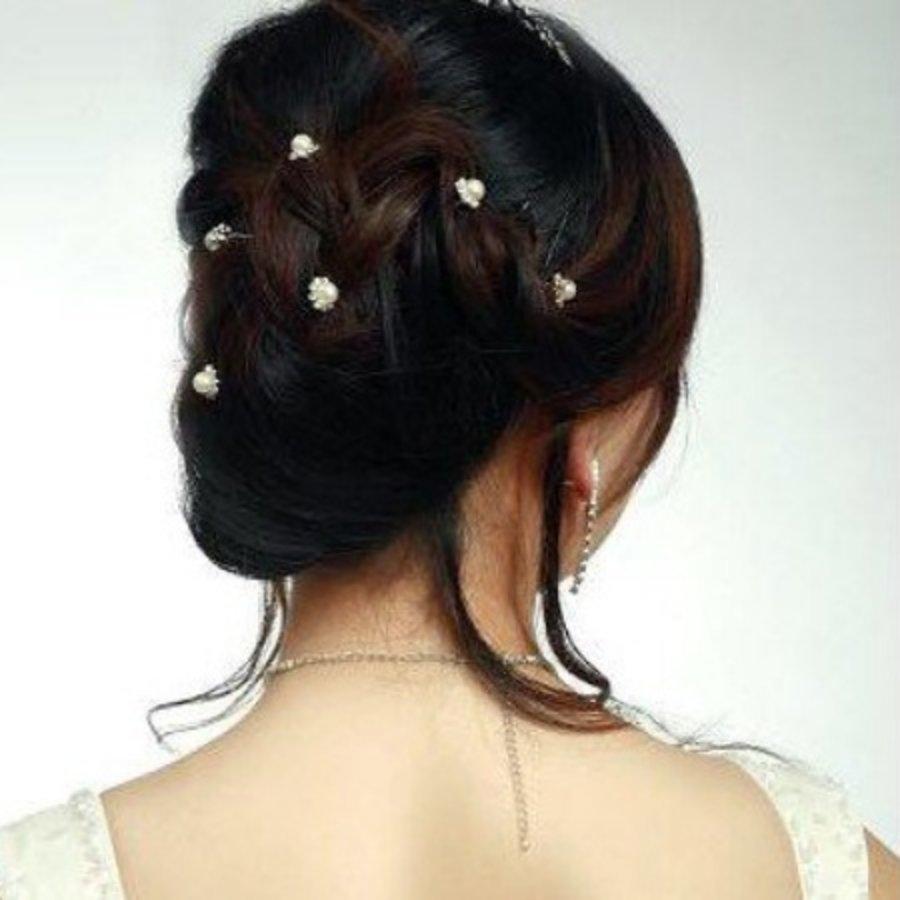 Hairpins – Parel met Fonkelende Kristallen - 4 stuks-4