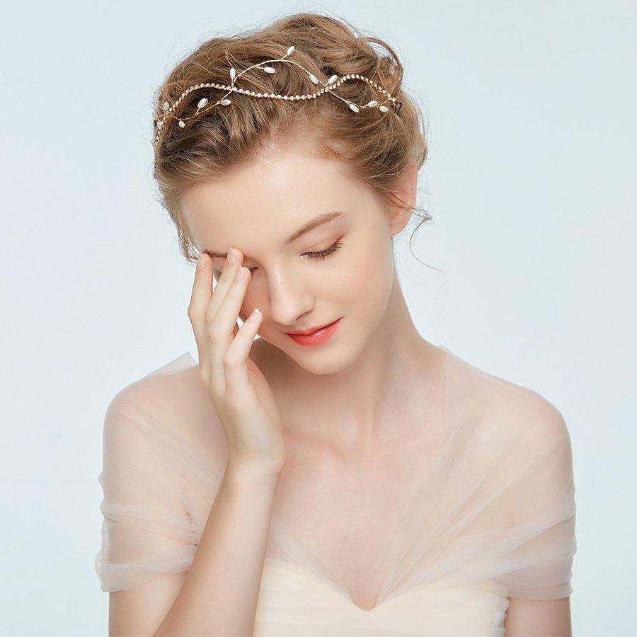 Goudkleurig Haar Sieraad met Ivoorkleurige Parels-5