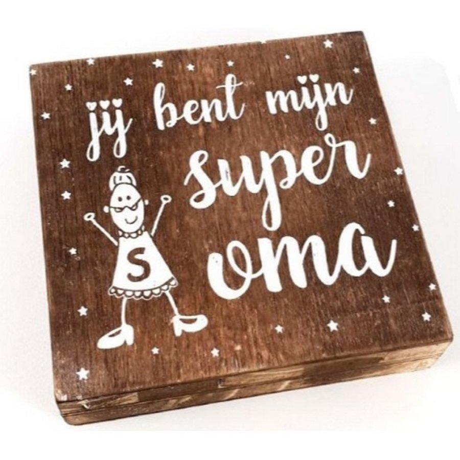 "BonTon - Houten Tekstplank / Tekstbord 15 cm ""Jij bent mijn super Oma'' - Kleur Naturel-1"