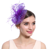 thumb-Chique  Fascinator / Birdcage Veil  - Paars-1