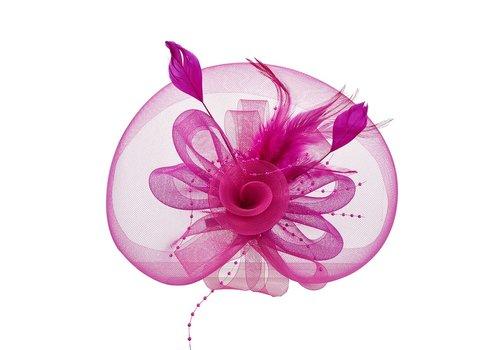 Stijlvolle Fascinator / Birdcage Veil  - Roze