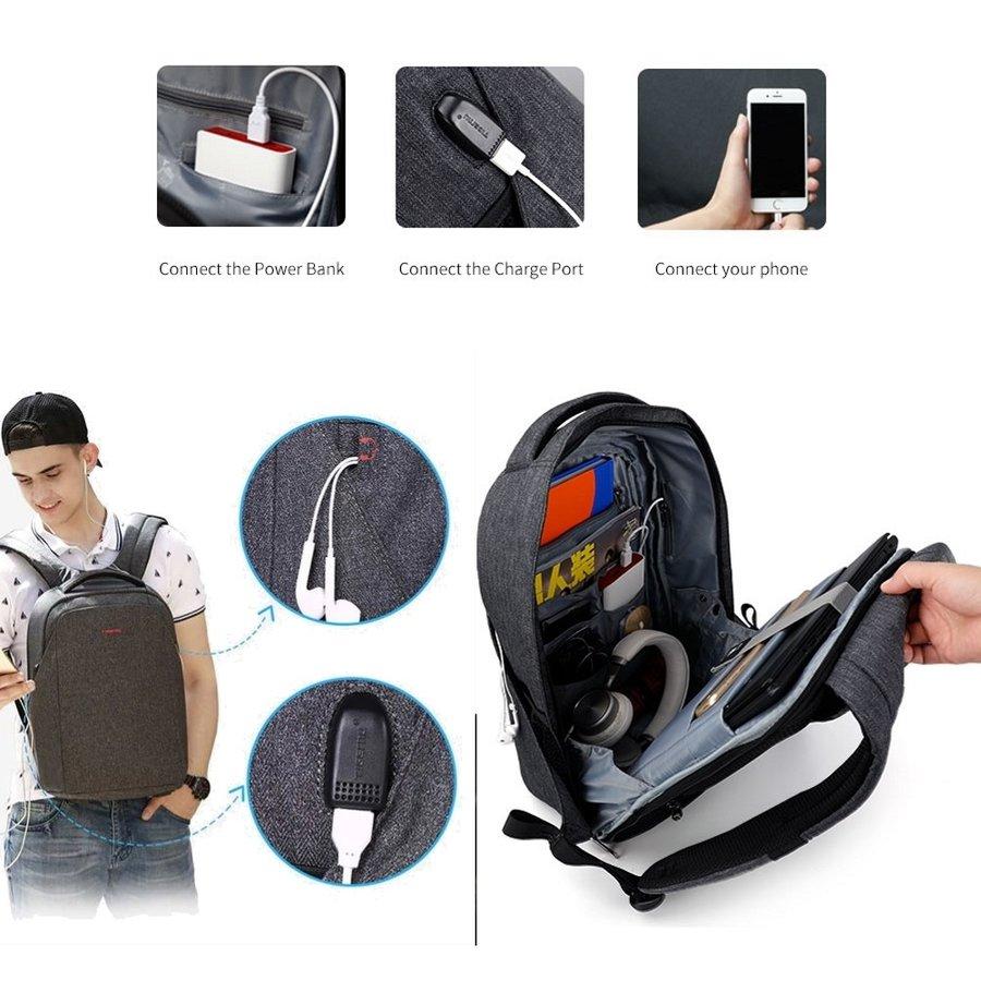 Anti-Diefstal Laptop rugzak 12,5 tot 16 inch - Grey - T-B3237-2